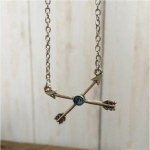 Boho Arrow NECKLACE with Blue Stone